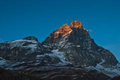 Sunset on Mount Cervino, Aosta Valley Stock Photos