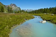 Alpe Devero, views of the river and forest Stock Photos