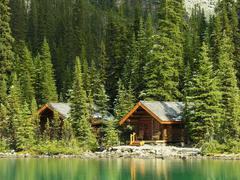 wooden cabins at lake o'hara, yoho national park, canada - stock photo