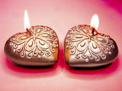 Heart scented aroma candles set Stock Photos