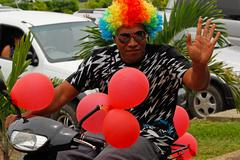 tongan man celebrate arriving fuifui moimoi on vavau island, tonga - stock photo