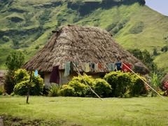 traditional house of navala village, viti levu, fiji - stock photo