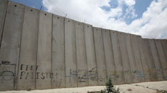 The separation barrier between Palestinian Authority and State of Israel Stock Footage