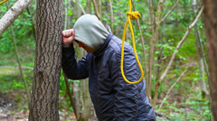 Man with noose in the  woods episode 5 Stock Footage