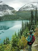 hiker admiring lake o'hara, yoho national park, canada - stock photo