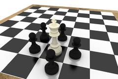 Stock Illustration of Black pawns surrounding white king