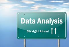 Highway signpost data analysis Stock Illustration