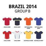 World Cup Brazil 2014 - group B teams football jerseys - stock illustration