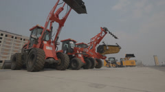 The exhibition of construction machinery Stock Footage