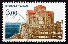 Postage stamp France 1985 Talmont Church - stock photo