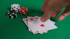Royal Flush Poker Hand on Table with Chips 1080P Stock Footage