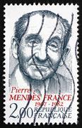 Postage stamp France 1983 Pierre Mendes France, Prime Minister Stock Photos