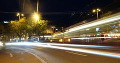 Street night shot intersection. bulb exposure Stock Photos
