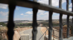 The separation barrier between Palestinian Authority and State of Israel - stock footage