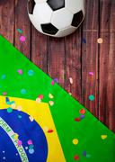 soccer: brasil ball and confetti background - stock photo