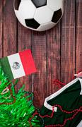 Stock Photo of soccer: mexico shirt and flag background