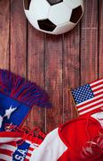 soccer: patriotic united states background with scarf - stock photo