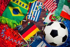soccer: international competition and ball background - stock photo