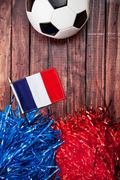 Stock Photo of soccer: france flag with poms and ball