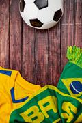 soccer: brasil ball jersey and scarf background - stock photo