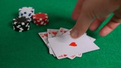 Royal Flush Poker Hand on Table with Chips 1080P 4K - stock footage