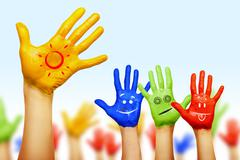 hands of different colors. cultural and ethnic diversity - stock photo