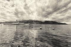 Panorama of Geneva lake with steamboat, Montreux - stock photo