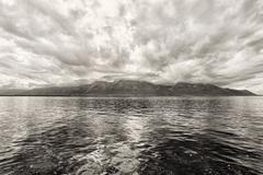 Panorama Geneven järven lähellä Montreux Kuvituskuvat
