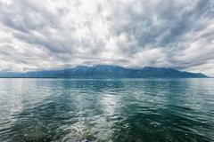 Panorama of Geneva lake near Montreux - stock photo