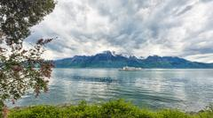 Bank of the Geneva lake with steam boat, Montreux - stock photo