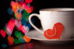 valentine's day cup with heart shape - stock illustration