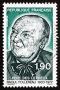 Postage stamp France 1987 Raoul Follereau, Journalist - stock photo