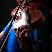 playing the violin. musical instrument with performer hands on dark backgroun - stock photo
