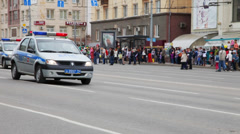 Russian police car in the city. Stock Footage