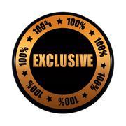 Exclusive 100 percentages in golden black circle label Stock Illustration