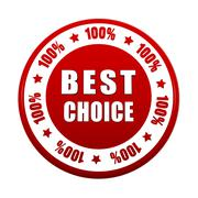Best choice 100 percentages in white red circle label Stock Illustration