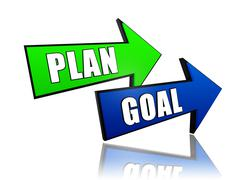 Plan and goal in arrows Stock Illustration
