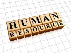 Human resources in golden cubes Stock Illustration