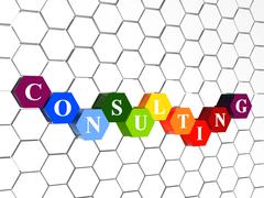 Stock Illustration of consulting in color hexagons in cellular structure