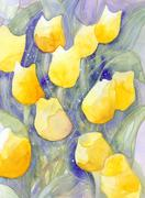 yellow tulips soft dots abstract watercolor painting - stock illustration