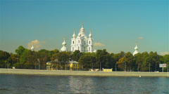 Beautiful Smolny cathedral under autumn sky Stock Footage