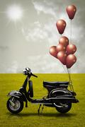retro scooter and colorful balloon - stock illustration