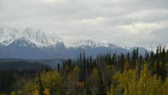 Pan Left, Snow-capped Mountains, Autumn Trees, Bluff Stock Footage