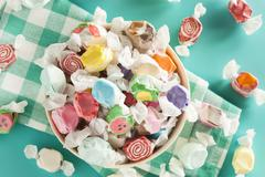 assorted sweet saltwater taffy - stock photo
