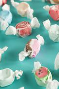 Assorted sweet saltwater taffy Stock Photos