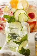 healthy spa water with fruit - stock photo
