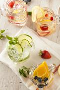 Healthy spa water with fruit Stock Photos