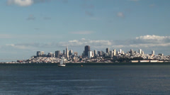San Francisco skyline from other side of the bay (from Sausalito). Stock Footage