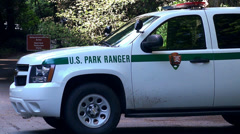 Stock Video Footage of Ranger car at the Muir Woods National Monument.