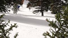 Slow Motion Snowboarding 240fps Powder Slash - stock footage